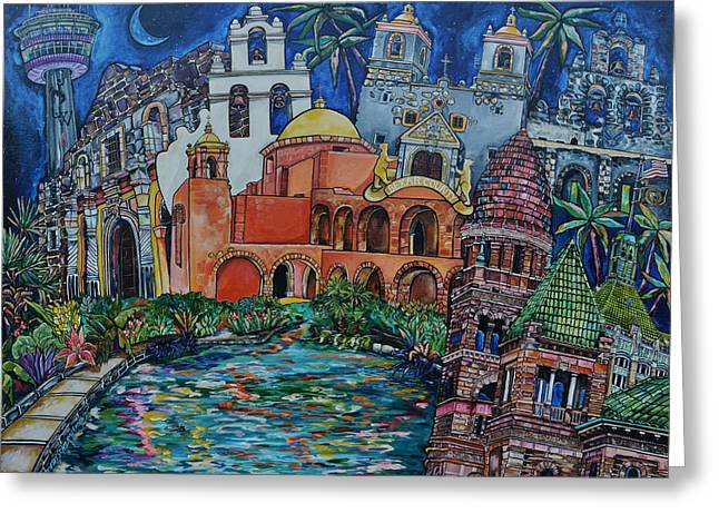 Greeting Card featuring the painting Bexar County Missions by Patti Schermerhorn