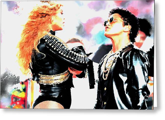 Beyonce And Bruno Mars Greeting Card by Brian Reaves