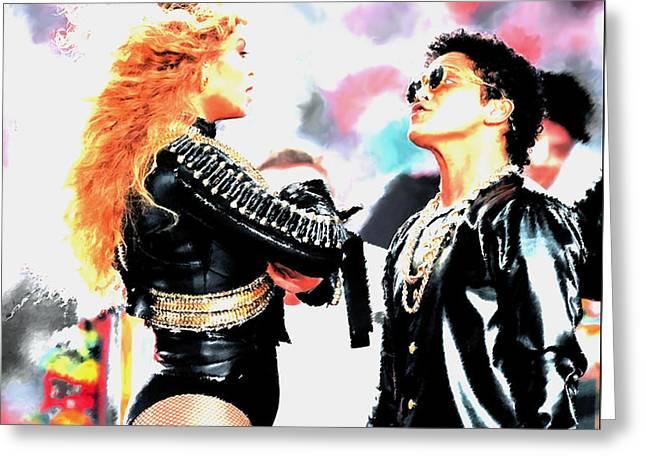 Beyonce And Bruno Mars Greeting Card
