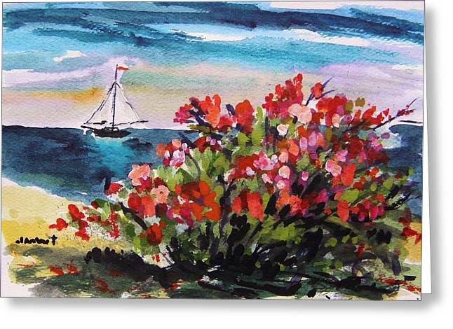 John M. Williams Drawings Greeting Cards - Beyond Sea Roses Greeting Card by John  Williams