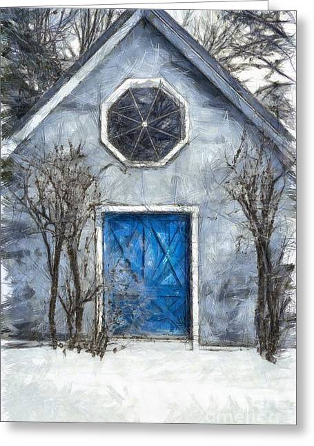 Beyond The Blue Door Pencil Greeting Card by Edward Fielding