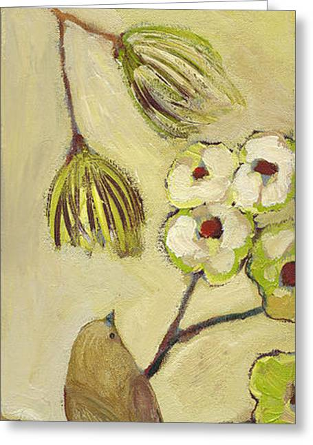 Sparrow Paintings Greeting Cards - Beyond the Dogwood Tree Greeting Card by Jennifer Lommers