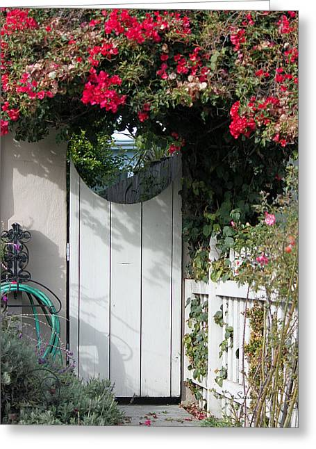 Beyond The Garden Gate Greeting Card by Suzanne Gaff