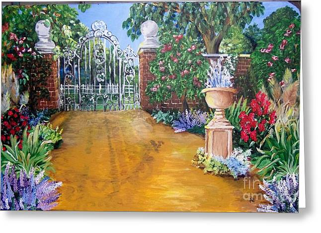 Greeting Card featuring the painting Beyond The Gate by Saundra Johnson