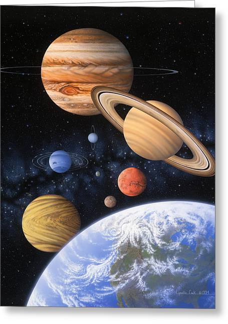 Beyond The Home Planet Greeting Card by Lynette Cook