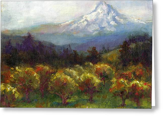 Colorist Greeting Cards - Beyond the Orchards Greeting Card by Talya Johnson