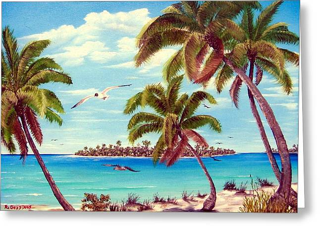 Beyond The Palms Greeting Card by Riley Geddings