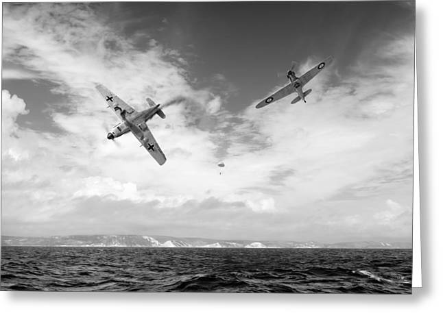 Bf109 Down In The Channel Bw Version Greeting Card by Gary Eason