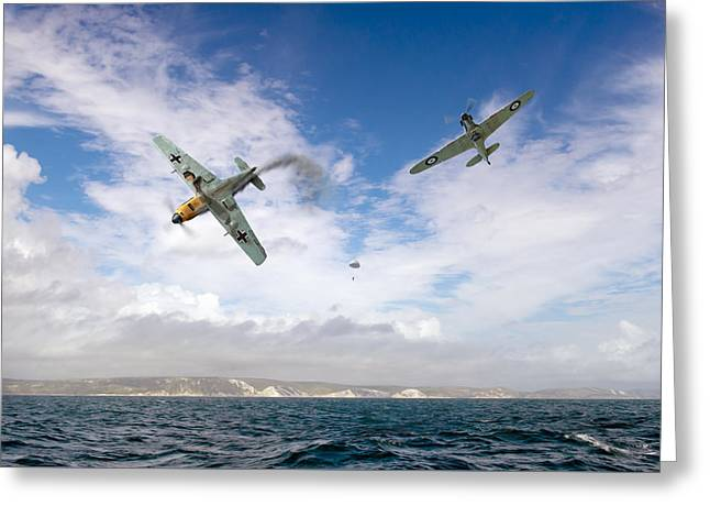 Bf109 Down In The Channel Greeting Card by Gary Eason