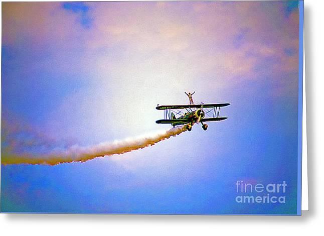 Bi-plane And Wing Walker Greeting Card