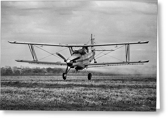 Bi-winged Crop Duster B N W Greeting Card