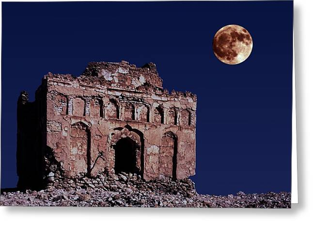 Qalat Greeting Cards - Bibi Maryams Tomb by moonlight  Greeting Card by John Rocha
