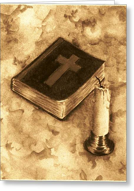 Bible And Candle Greeting Card by Michael Vigliotti