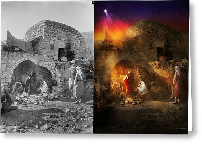 Bible - Jesus - Seeking The Christ Child 1920 - Side By Side Greeting Card by Mike Savad