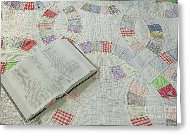 Bible On Quilt Greeting Card