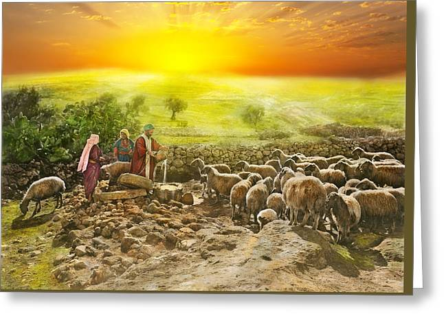 Bible - Psalm 23 - My Cup Runneth Over 1920 Greeting Card by Mike Savad