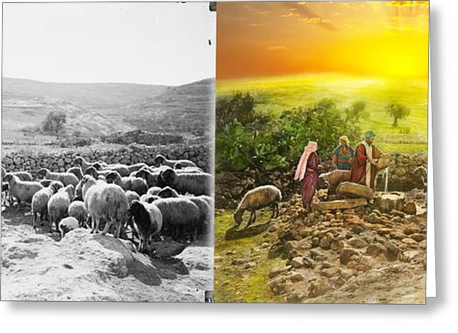 Bible - Psalm 23 - My Cup Runneth Over 1920 - Side By Side Greeting Card by Mike Savad