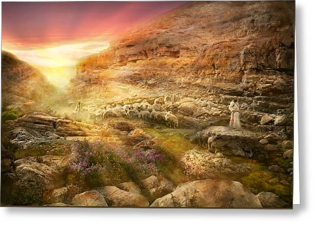 Bible - Psalm 23 - Yea, Though I Walk Through The Valley 1920 Greeting Card by Mike Savad