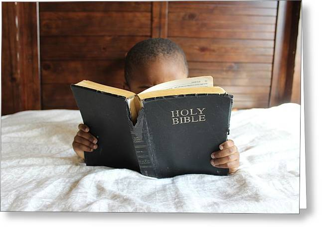 Bible Reading Boy Greeting Card by Cco