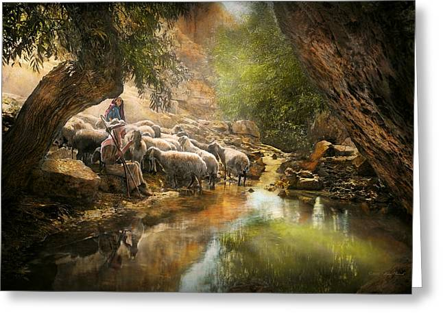 Bible - The Lord Is My Shepherd - 1910 Greeting Card by Mike Savad