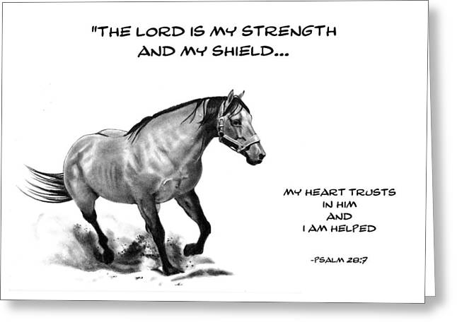 Bible Verse With Drawing Of Horse Greeting Card by Joyce Geleynse