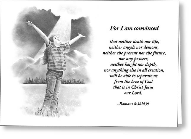 Bible Verse With Pencil Drawing Greeting Card by Joyce Geleynse