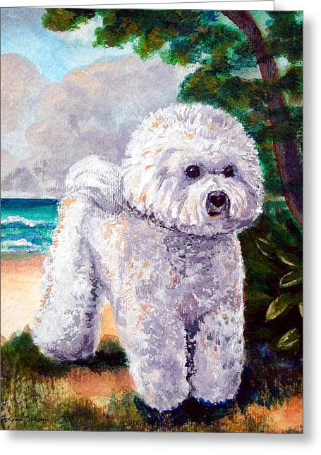 Puppies Greeting Cards - Bichon Frise Beach Babe Greeting Card by Lyn Cook