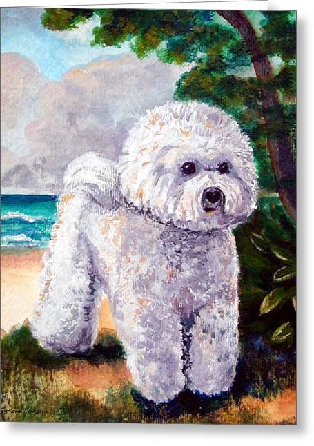 Bichon Frise Beach Babe Greeting Card by Lyn Cook