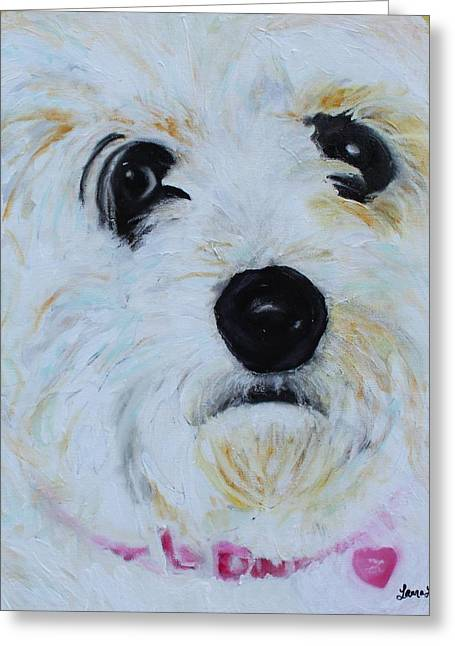 Greeting Card featuring the painting Bichon Frise-king Charles Cavalier Spaniel Mix - Molly by Laura  Grisham