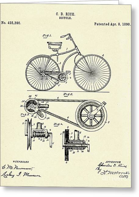 Bicycle-1890 Greeting Card by Pablo Romero