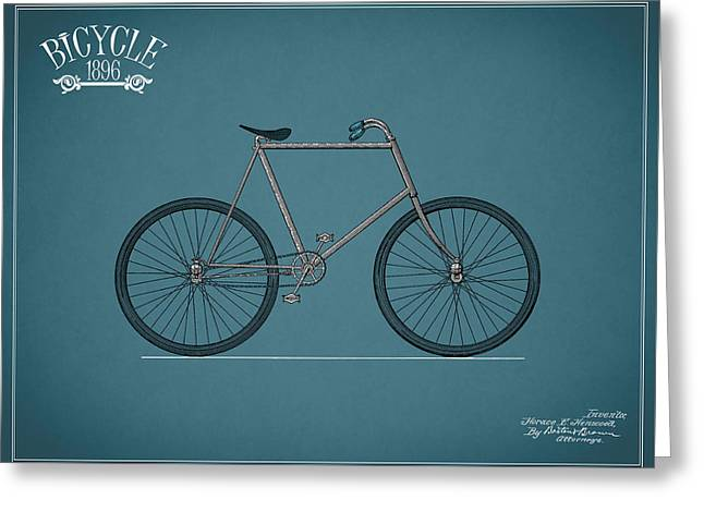 Bicycle 1896 Greeting Card by Mark Rogan
