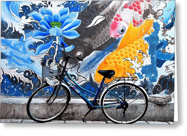 Bicycle Against Mural Greeting Card