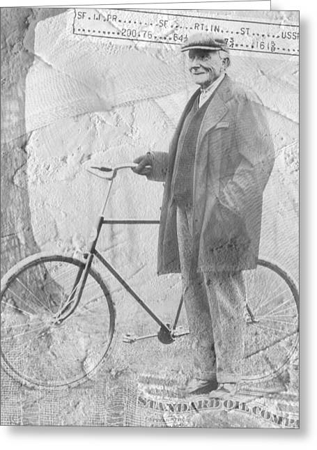 Bicycle And Jd Rockefeller Vintage Photo Art Greeting Card by Karla Beatty