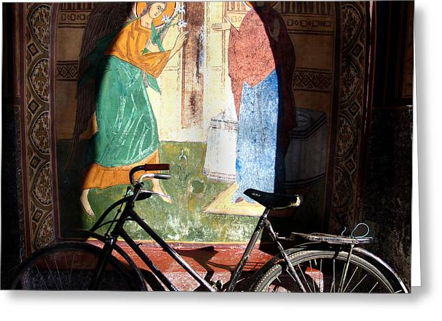 Bicycle And Mural Greeting Card by Todd Fox