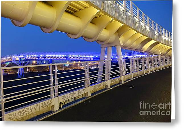 Greeting Card featuring the photograph Bicycle And Pedestrian Overpass by Yali Shi