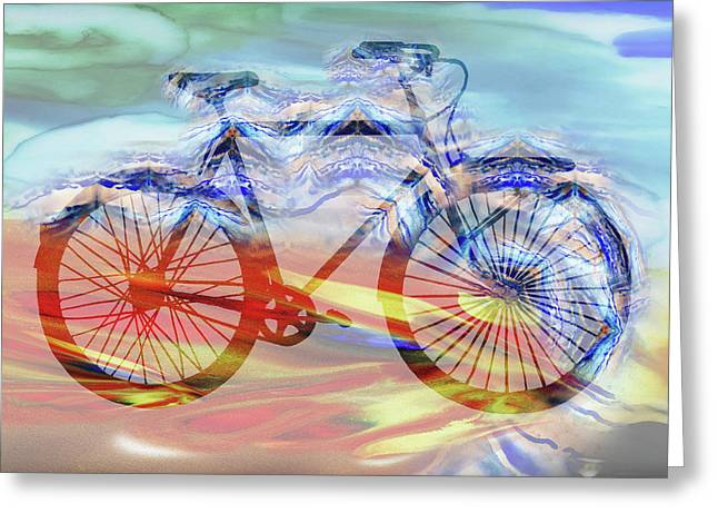 Bicycle And Speed Watercolor Silhouette Greeting Card by Irina Sztukowski