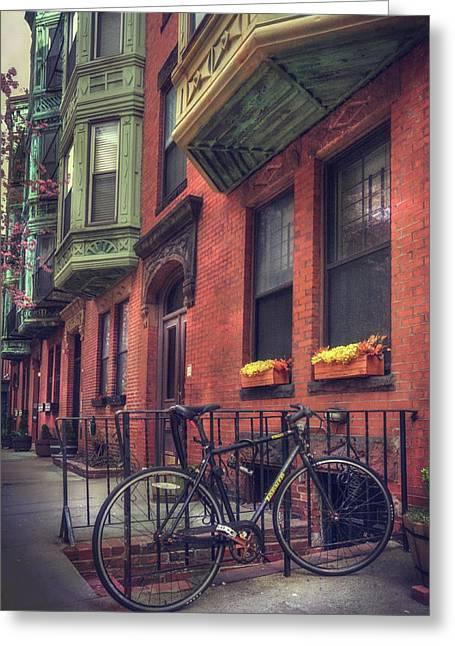 Bicycle Art - Bay Village - Boston Greeting Card by Joann Vitali