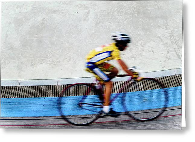 Bicycle Blur Greeting Card by Jim DeLillo