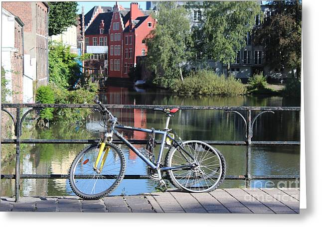 Bicycle By Canal In Belgium Greeting Card