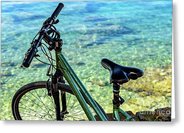 Bicycle By The Adriatic, Rovinj, Istria, Croatia Greeting Card