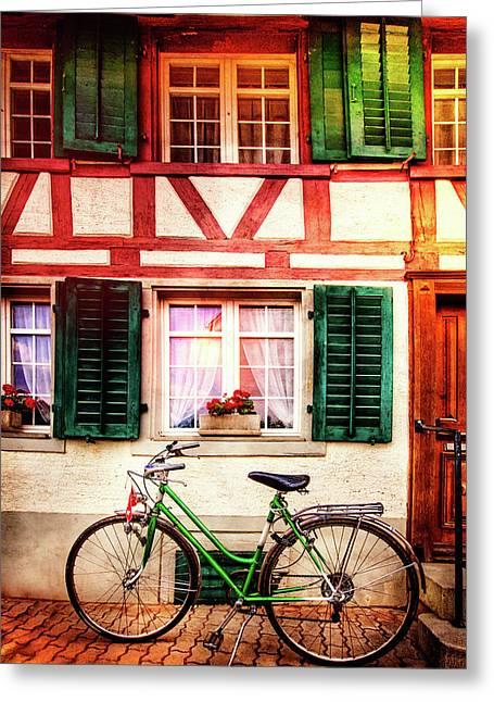 Bicycle Charm Greeting Card by Debra and Dave Vanderlaan