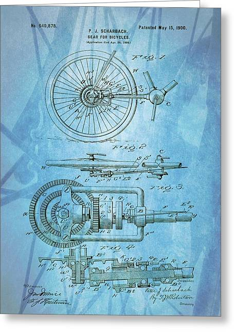 Bicycle Gear Patent Illustration Greeting Card by Dan Sproul