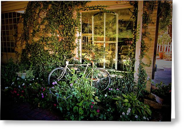 Bicycle In Bloom Greeting Card by Rosemary McGahey