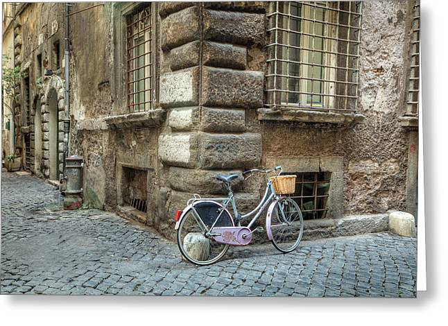 Bicycle In Rome Greeting Card by Al Hurley