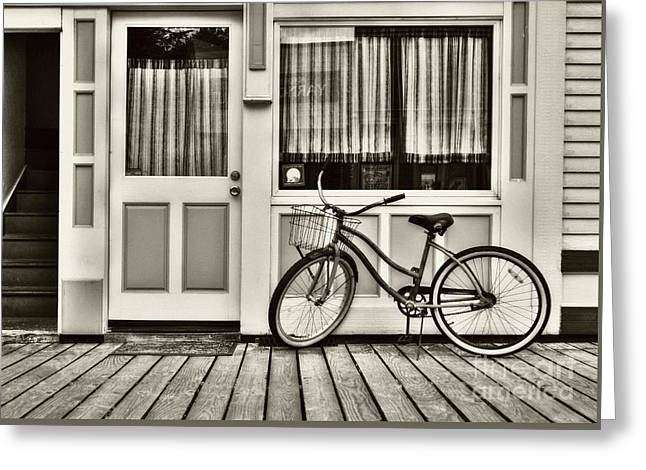 Bicycle In Skagway Sepia Tone Greeting Card by Mel Steinhauer