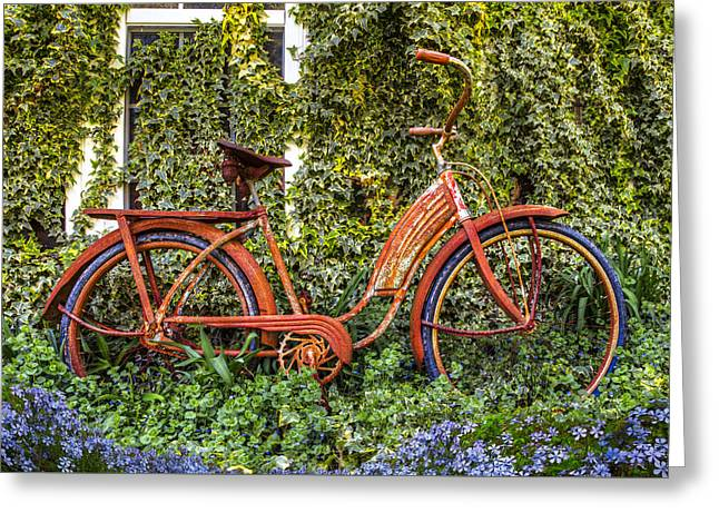 Bicycle In The Garden Greeting Card by Debra and Dave Vanderlaan