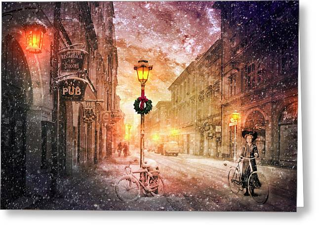 Bicycle In The Snow Greeting Card