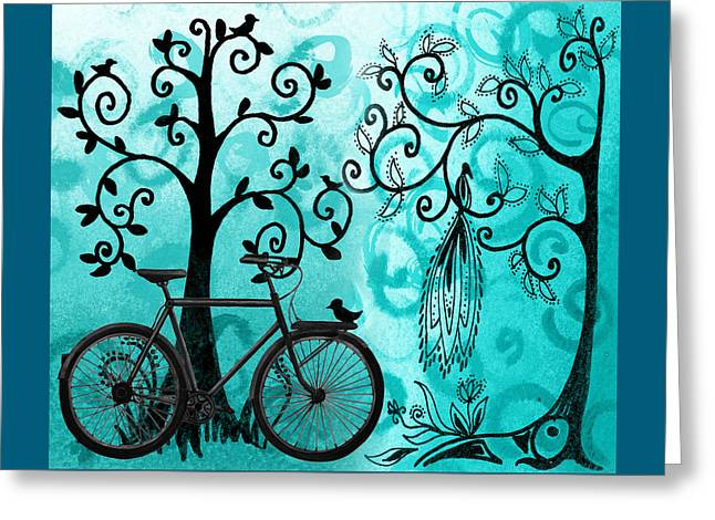 Bicycle In Whimsical Forest Greeting Card by Irina Sztukowski