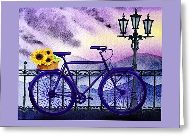 Blue Bicycle And Sunflowers By Irina Sztukowski  Greeting Card by Irina Sztukowski