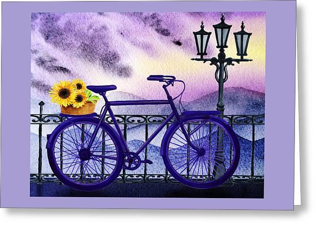 Blue Bicycle And Sunflowers By Irina Sztukowski  Greeting Card